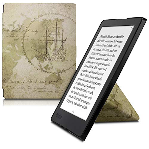 kwmobile Carcasa Compatible con Kobo Aura H2O Edition 2 - Funda magnética de Origami para e-Book - mapamundi Vintage...