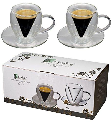 Spikey 2X 70ml doppelwandige Spitzglas-Tassen rund mit Henkel und Untersetzer, für Ihren ganz besonderen Espresso, by Feelino