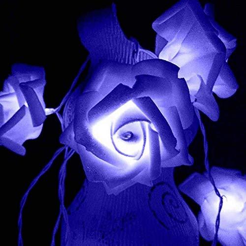 Innenlichterketten, 3M 30LED Rose Flower Lichterketten Batteriebetriebene Lichterketten für Hochzeitsfest (Blau)