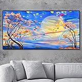 WPJ Affiche de Paysage Floral Abstrait, Peinture sur Toile, Décoration de la Maison, Impression d'art Mural pour la Décoration de Salon sans Cadre (Color : 10, Size (inch) : 80x40cm No Framed)
