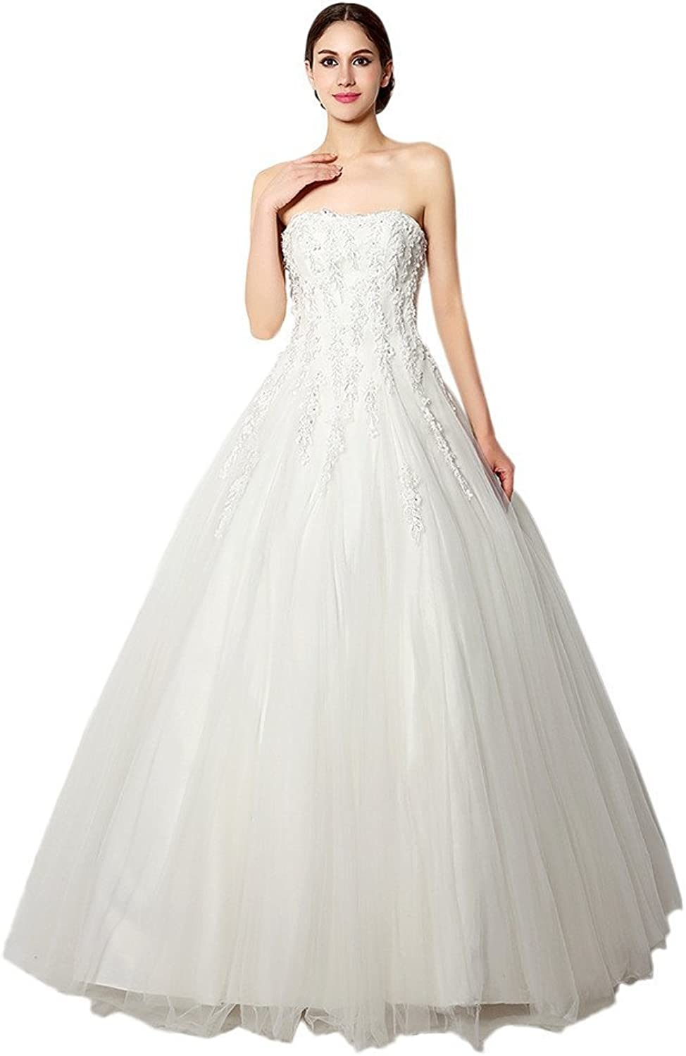 Angel Bride White Strapless Ball Gown LaceUp Wedding Dresses Bridal Gowns
