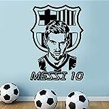 Decoración del hogar Messi Etiqueta de la pared Sala de estar Dormitorio Arte de la pared Adhesivo Vinilo Fútbol Calcomanía de pared