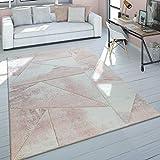 Alfombra Salón Rosa Pelo Corto Tonos Pastel Diseño Mármol Motivo 3D Jaspeada, tamaño:160x230 cm