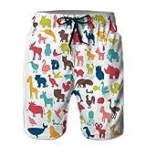 Shorts de Playa de baño de Secado rápido para Hombre, Conjunto Grande de Siluetas de Animales en Estilo de Dibujos Animados M
