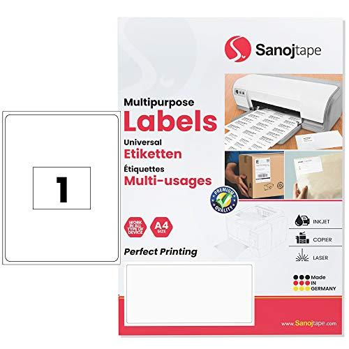 Weiße Universal-Papieretiketten im A4-Format | 210 x 297 mm - 100 Etiketten | 1 Etikett pro A4-Blatt | Dauerhafte Klebekraft für Briefsendungen, FBA, Pakete| 100 Etiketten - 100 Blätter von Sanoj Tape