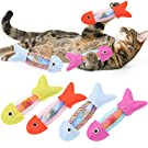 Yiifunglong 4Pcs Interactive Catnip Fish Toys for Cats, Fish Flop Cat Toy, Fish Shape Bite Resistance Cat Toy Natural Inside Chewing Biting Sticking Plaything Set Kitty Toy