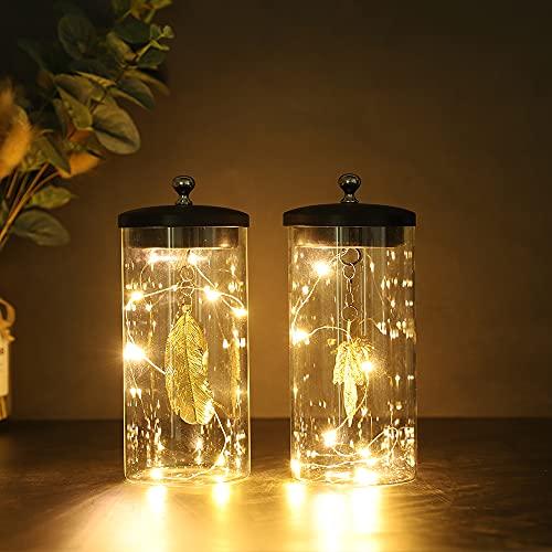 JHY DESIGN Juego de 2 lámparas decorativas colgantes de hojas Lámpara de batería inalámbrica de 18cm de altura con luces altas y luces de hadas para el Dormitorio Bodas Interior al aire libre (Hoja)