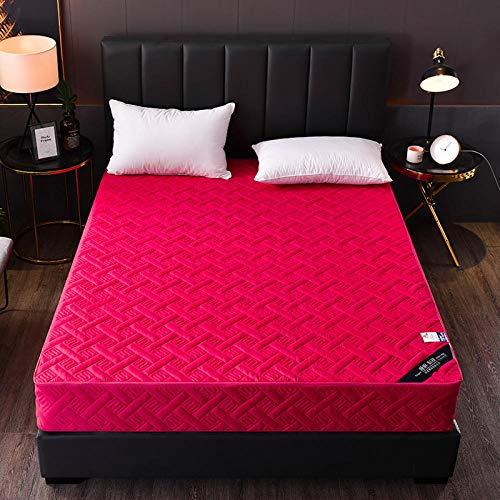 HPPSLT colchón Acolchado, antialérgico antiácaros, Sábana Pure Color Todo Incluido Hotel-Wine Red_120 * 200cm