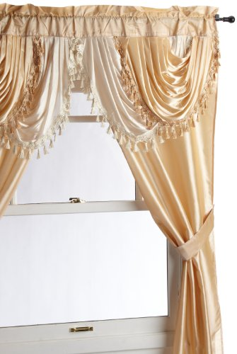 Regal Home Collections Amore 54 84-Inch Luxurious 5PC Attached Valance, Gold Window Curtain Set