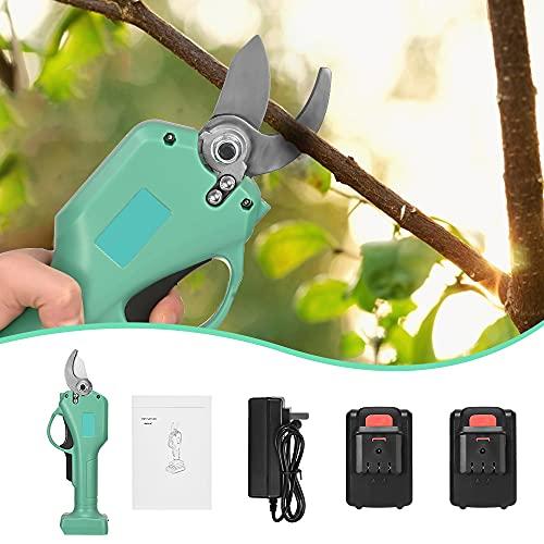 Kacsoo Tijeras de Podar Electricas,Tijeras de Podar Bateria Ramas de árboles frutales, 2 Paquetes de Baterías 30mm Tijeras de Podar para 6-8 Horas de Trabajo Jardinería para árboles Jardín