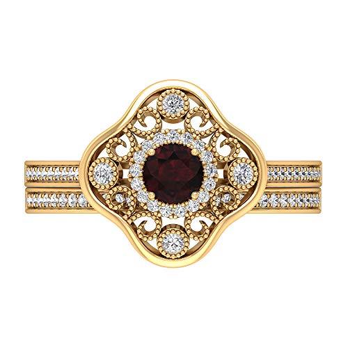 Anillo de granate de 3/4 quilates, anillo de halo de diamante HI-SI, anillo de compromiso de corte redondo de 4 mm, anillo de novia de oro, anillo art decó de oro, 18K Oro amarillo, Size:EU 50