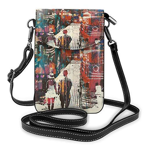 Pärchen gehen am Hafen Pier mit bunten Booten, kleine Crossbody-Taschen, Handy-Geldbörse – Frauen PU-Leder Handtasche mit verstellbarem Riemen für den Alltag