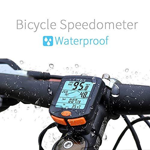 Sunwan Fahrrad-Tachometer, kabellos, LCD, digitaler Kilometerzähler, wasserdichter Fahrradcomputer, Fahrradzubehör mit Hintergrundbeleuchtung