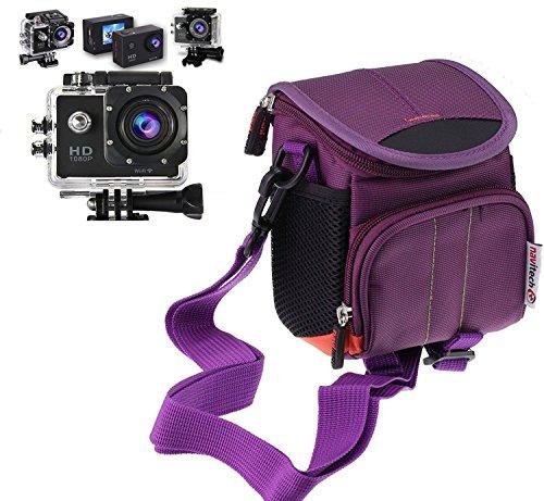 Navitech lila Action Kameratasche/Abdeckung - Mit Mehreren Taschen, einschließlich anpassbare interne Ablagefächer für die iSAW Edge/Wing/AIR
