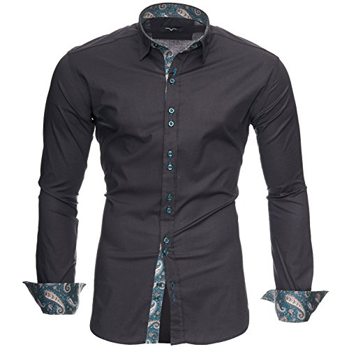 Kayhan Camisas Hombres Camisa Hombre Manga Larga Ropa Camisas de Vestir Slim fácil de Hierro Fit S M L XL XXL-6X - Modello Royal