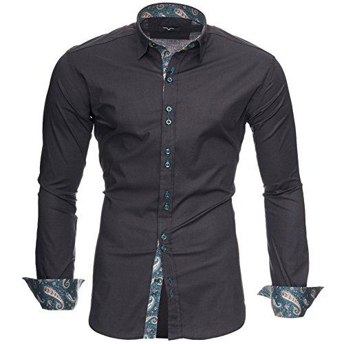 Kayhan Hombre Camisa Royal Paisley Grey (3XL)