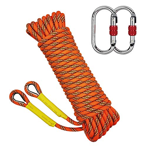 Trsmima Outdoor Climbing Rope 8MM Diameter Static Rock Climbing Rope 10M32ft Tree Climbing Rappelling Rope and CE Certified Carabiner Escape Rope Fire Rescue Parachute Rope