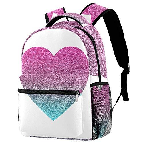 Lentejuelas Love Pink Mochilas para Niñas Mochilas para Niños Mochilas Escolares Mochilas De Viaje Casuales para Hombres Mujeres 29.4x20x40cm
