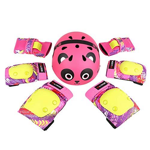 Kinderfietshelm, buitensporten Beschermende set voor 3-13 jaar Kinderen Peuter Skateboard Verstelbare helm Knie-elleboog Polssteunen voor inline rolschaatsen Fietsen,Pink,M