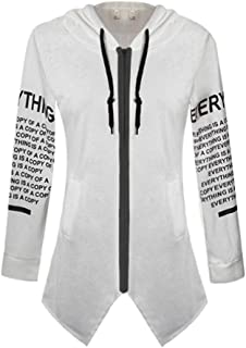 Xiang Ru Graffiti Letter Printing Large Size Sweater Zipper Hooded Jacket for Women