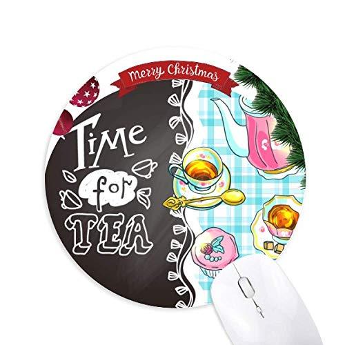 Zeit für Tee Cupcake Teaport France Round Rubber Mouse Pad Weihnachtsbaum Mat
