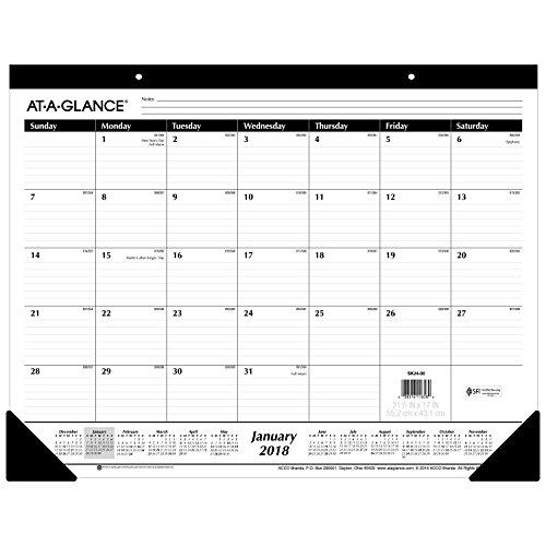 AT-A-GLANCE Monthly Desk Pad Calendar, Ruled Blocks, January 2018 - December 2018, 22