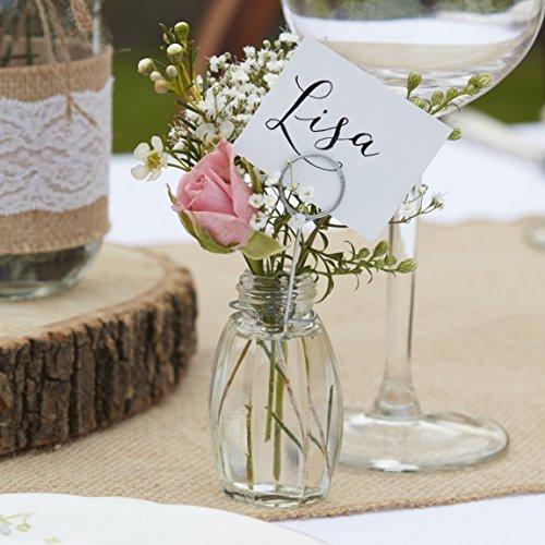 Ginger Ray Mini szklany wazon miejsce uchwyty na karty zestaw ślub 4-pak rustykalny wiejski