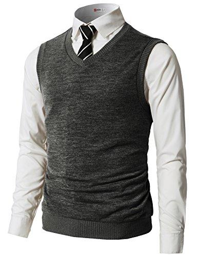 H2H Mens Slim Fit Casual V-Neck Knit Vest Charcoal US 3XL/Asia 4XL (CMOV042)