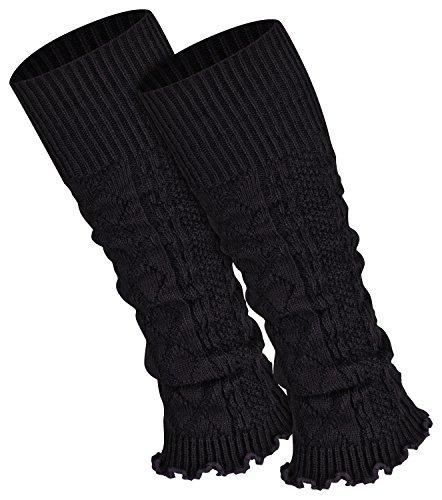 Piarini 1 Paar Bein Stulpen Damen - warme Beinstulpen Strick - schwarz