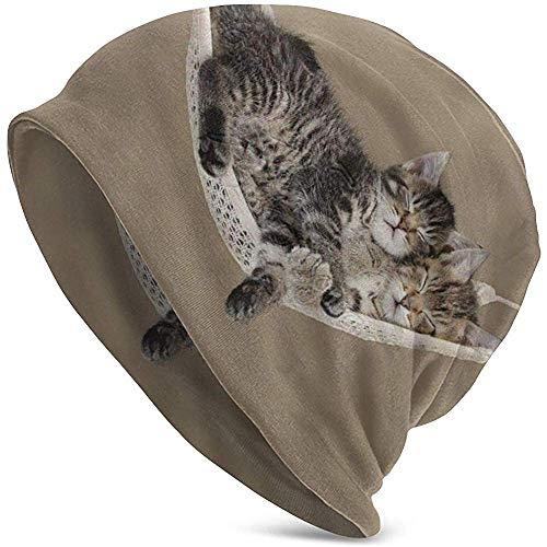 TABUE Slouchy Beanie voor vrouwen en mannen, katten in een hangmat-doodshoofdmuts, warme, rekbare en zachte gebreide muts