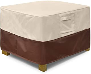 Vailge Square Patio Ottoman Cover, Waterproof Outdoor Ottoman Cover with Padded Handles, Patio Side Table Cover, Heavy Dut...