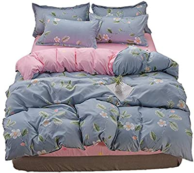 Liancany Cotton Comforter Cover Duvet Cover Simple Style Bedding Exquisite Workmanship Queen Size Duvet Cover Exquisite Touch Queen Blue Flower Story