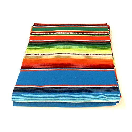 MB-Müller Original Mexikanische Decke mit Blauen Streifen Sarape