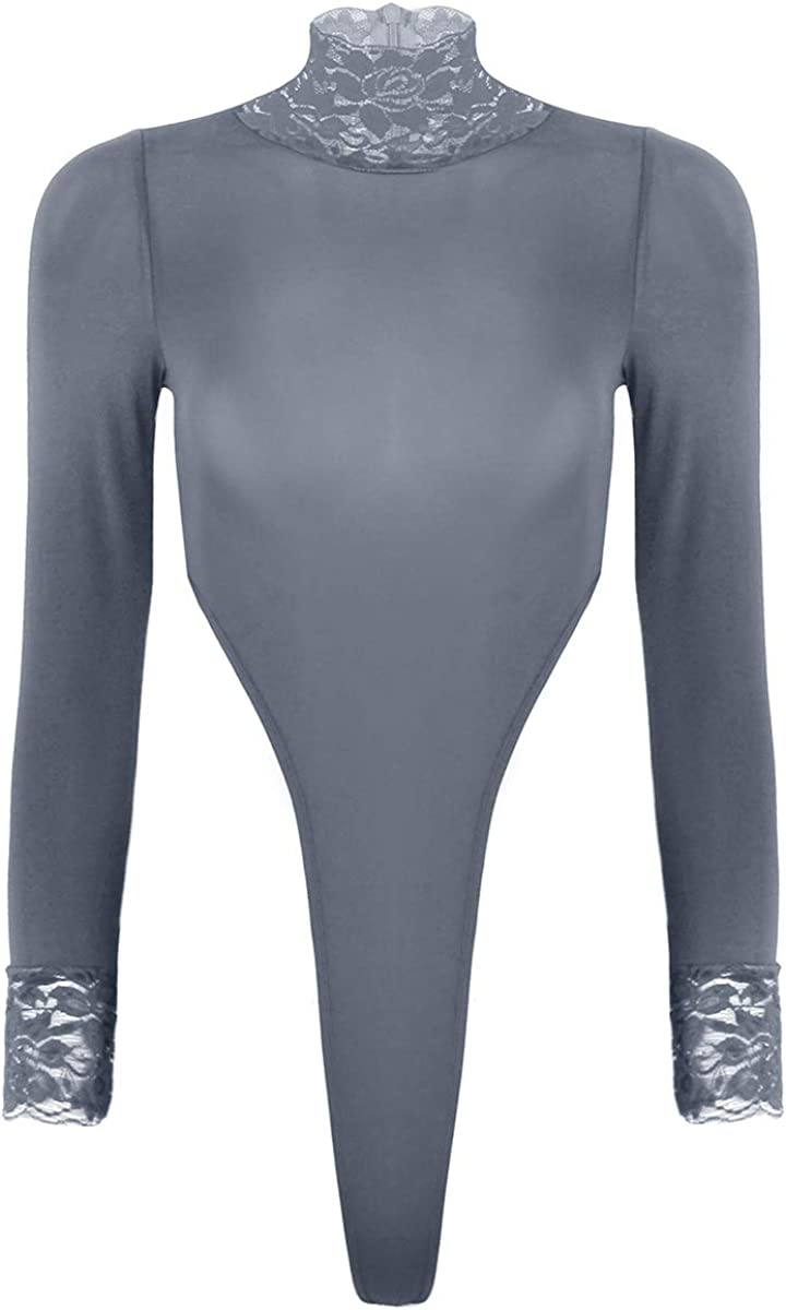 Shinsto Women's Stretchy Turtleneck Long Sleeve Bodycon Jumpsuit Bodysuit High Cut Leotard Tops