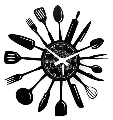 Instant Karma Clocks Reloj de Pared de Vinilo Chef Utensilios Restaurante para Cocina salón