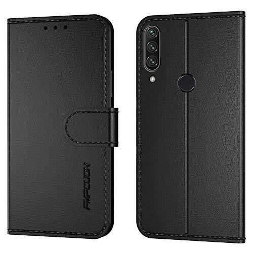 FMPCUON Handyhülle Kompatibel mit Huawei P40 Lite E/Y 7P(Neueste),Premium Leder Flip Schutzhülle Tasche Hülle Brieftasche Etui Hülle für Huawei Honor Play3(6,39 Zoll),Schwarz