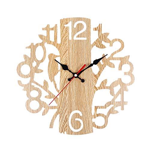 Digitale Wecker-Hansee, Wanduhr Tischuhren Uhr Funk-Wecke Reisewecker Europäische Retro Baum Vogelwanduhr Dekorative Wanduhr im Wohnzimmer Alarm Clock für Zuhause(A)