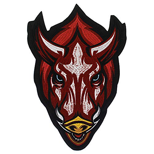 EMDOMO Red OX Bull Head Iron on Patches voor Jeans Jacket Back Stickers Borduurwerk Applique Badge 1 stuk