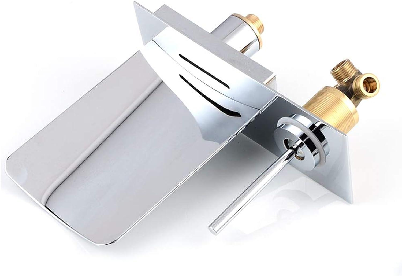 Tan Wandmontage Waschbecken Wasserhahn LED Wasserfall Badewanne Mischbatterie Temperaturregelung Auslauf,Chrome