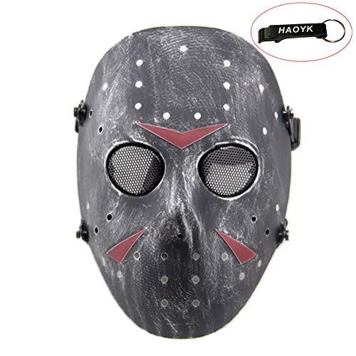 haoYK Gesichtsmaske, Hockeymaske im Stile von Jason Vorheese, Schutzmaske als Kostüm für Halloween und Partys, silber, schwarz