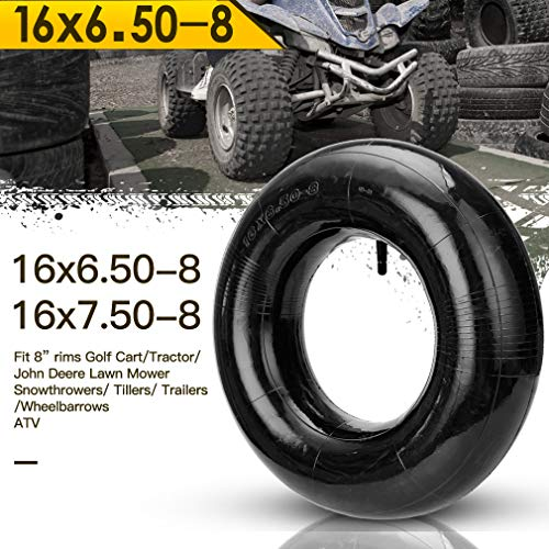 HIAORS 2Pcs 16X6.50-8 16X7.50-8 16X650-8 TR13 Inner Tire Tube with Straight Valve Stem for Atv, Farm Tractor, Wheelbarrow Lawn Mower Parts