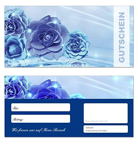 200 Geschenkgutscheine (Blumen-659) - Ein schönes Produkt für Ihre Kunden Gutscheine Gutscheinkarten für Bereiche wie Geschenke, Geburtstag, Freizeit, Wellness, Feier, Jubiläum, Sommer - blaue Rosen