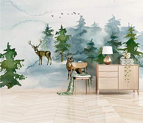 Pink world Wandbild minimalistische Elchwaldlandschaft Wohnzimmer Schlafzimmer Hintergrund Wand Wohnkultur Wandbild-Über 400 * 280 cm