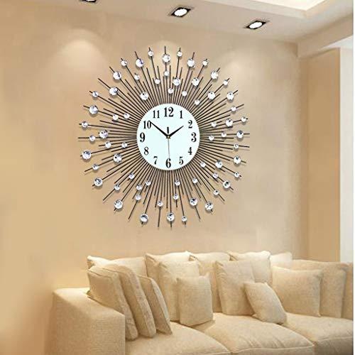 Edge to Wanduhren European Fashion Clock Wohnzimmer Wanduhr Modern Creative Ruhige Quarzuhr, Eisen Große Wanduhr (Farbe : Silber)