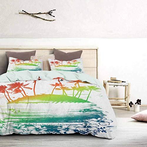 UNOSEKS LANZON Bedding Cover Grunge Style Artsy Inky Colorful Summer Scenery with Palms and Hawaiian Hibiscus Flowers Teen Bedding Cover Gives You a Good Sleep Multi, King Size