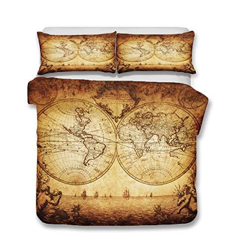 QWAS Juego de ropa de cama de 3 piezas con diseño de mapamundi, ropa de cama, cama individual, doble y king (A1,220 x 240 cm + 80 x 80 cm x 2)