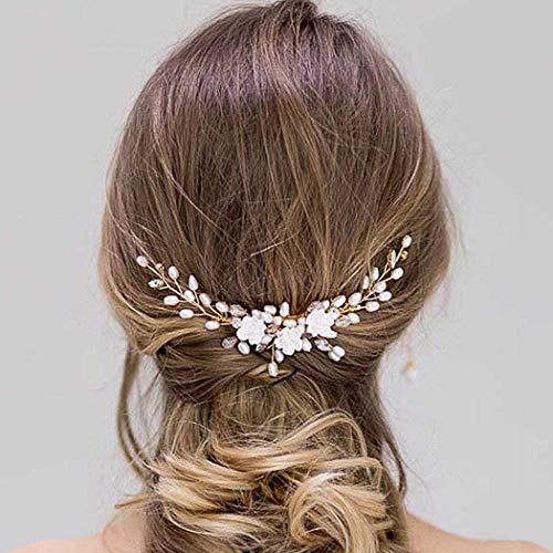 Simsly - Peignes à cheveux de mariage fleuri - Accessoire de cheveux pour mariée et demoiselle d'honneur
