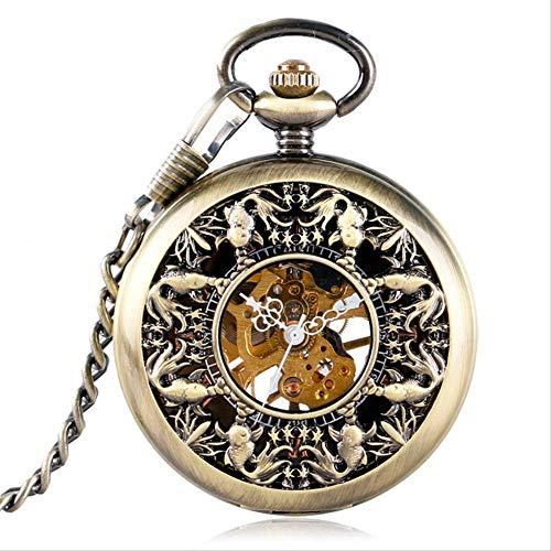 YYhkeby Relojes de Bolsillo de Bolsillo de Bolsillo Relojes de Bolsillo pequeña Linda Cubierta de pez de Colores Corta Cadena Corta Adorable Reloj de Pescado Regalo Kiakai (Color Jialele