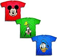 Disney Boys' Toddler Mickey, Goofy, Donald 3-Pack T-Shirts, red/Kelly/Royal, 2T