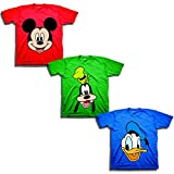 Disney Boys' Toddler Mickey, Goofy, Donald 3-Pack T-Shirts, red/Kelly/Royal, 2T